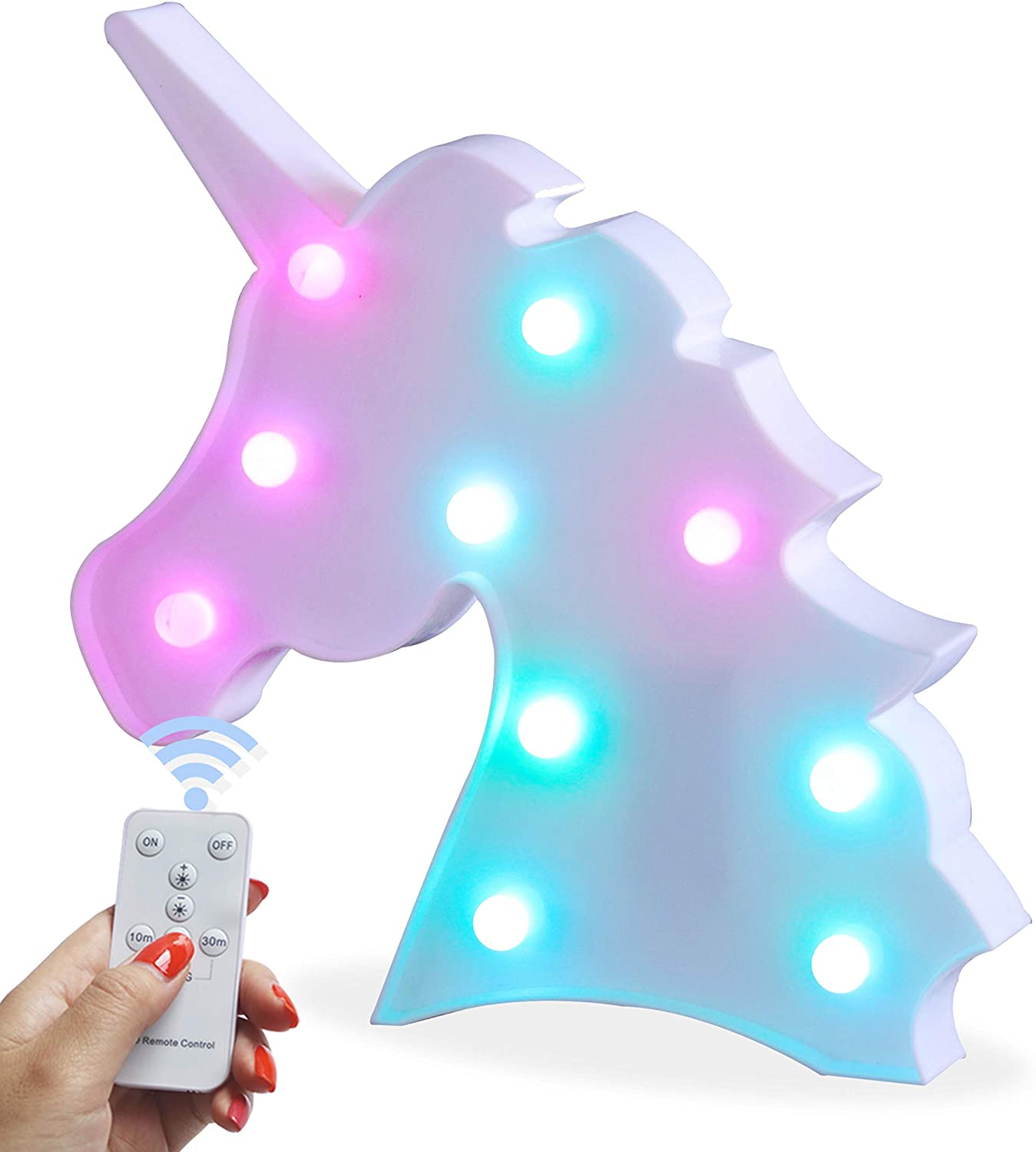 Battery Operated Night Light LED Marquee Sign with Wireless Remote Control for Kids' Room, Bedroom, Gift, Party, Home Decorations (Unicorn Head Colorful)