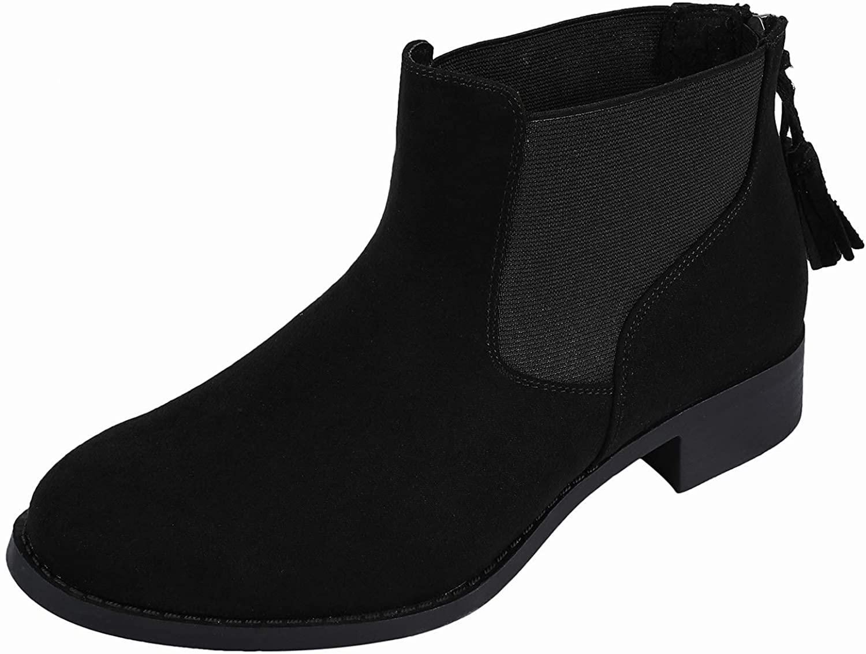 Luoika Women's Wide Width Ankle Boots, Low Heel Slip on Casual Cozy Winter Booties.