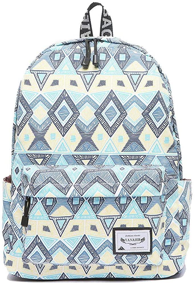 YANAIER School Backpack for Teen Girls & Boys Lightweight Casual Laptop Bag Bookbag Travel Hiking Camping Daypack