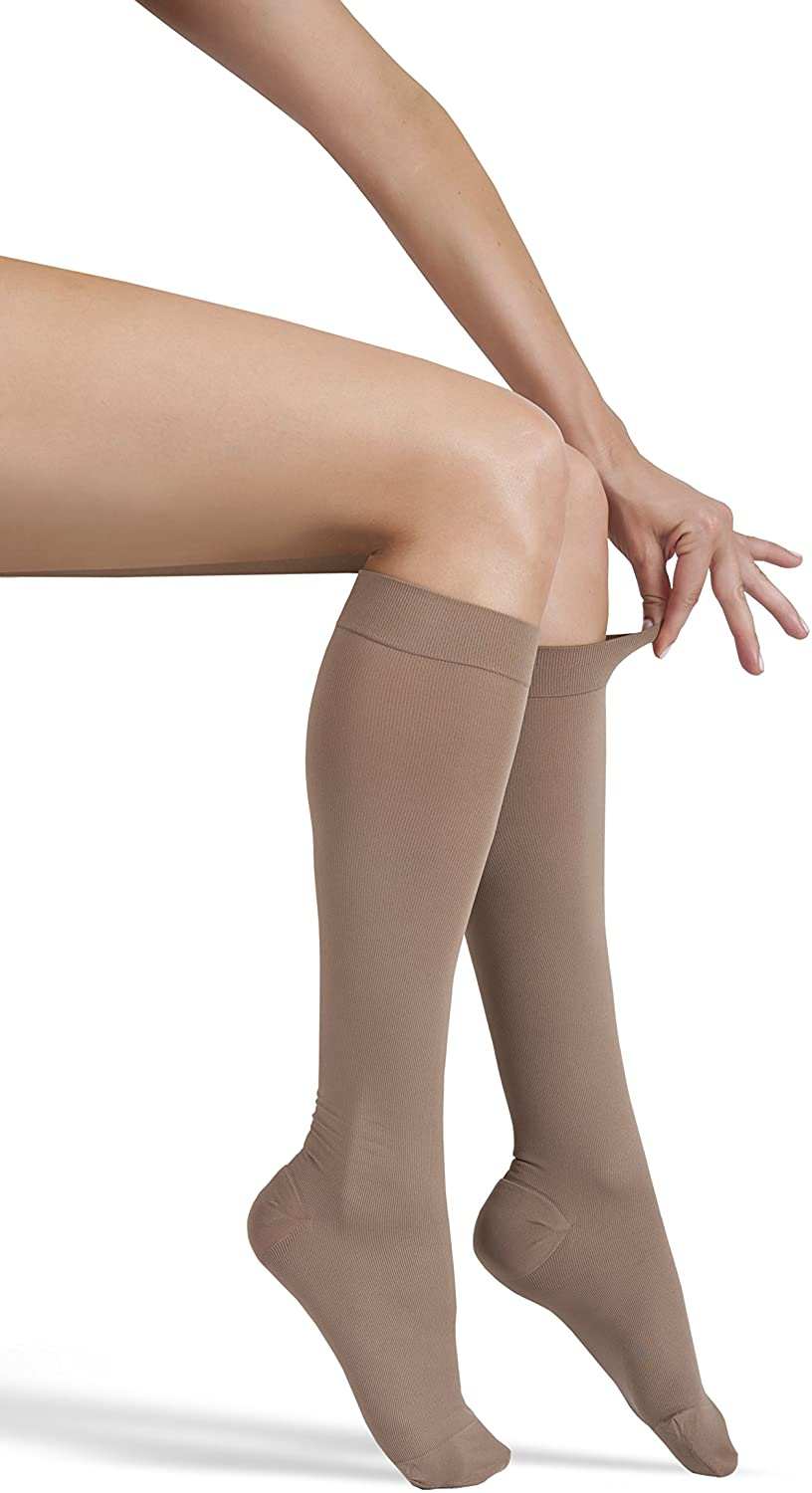 GABRIALLA Graduated Microfiber Compression Stockings, Calf Knee Highs. Made in USA. Varicose Vein Treatment, Improves Blood Circulation in Legs and Feet (25-35 mmHg) X-Large | Beige