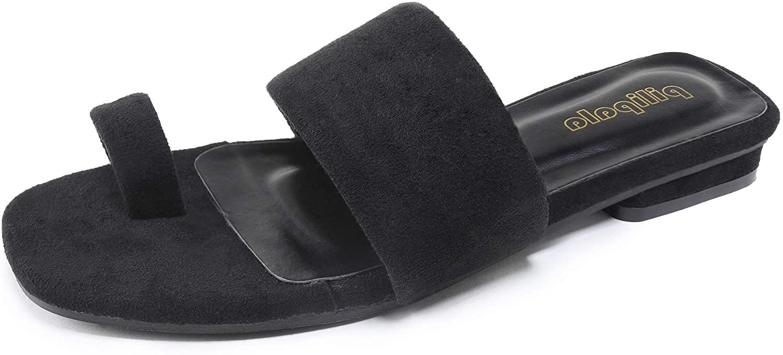 Pilipala Women's Flat Sandal Slides Padded Open Toe Sandal Slipper Toe Ring Flip Flops Shoes