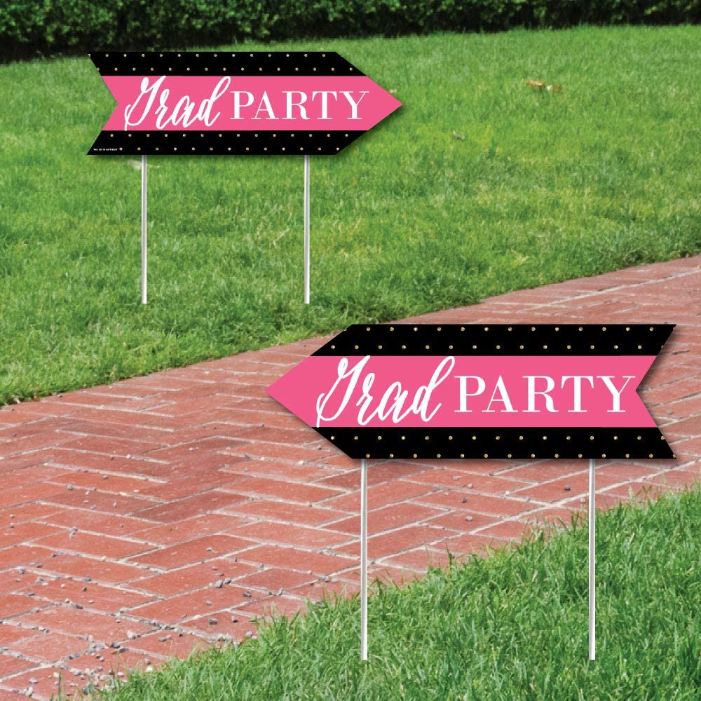 Big Dot of Happiness Dream Big - Graduation Party Sign Arrow - Double Sided Directional Yard Signs - Set of 2