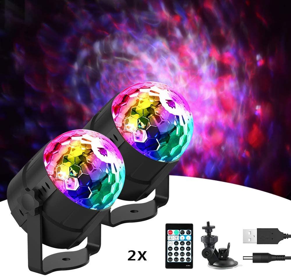 [Newest Version] Delicacy Disco Ball Party Lights Sound Activated Ocean Wave LED Strobe Light,15 Colors DJ Lights with Remote Control for Home Parties Birthday Wedding Club [2-Pack]