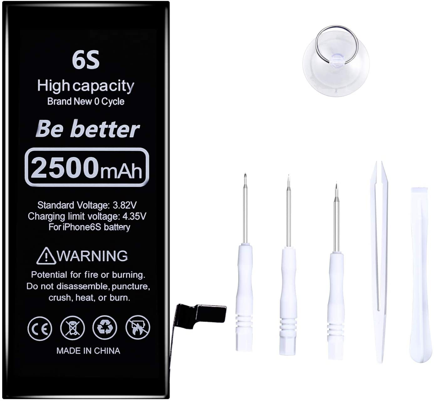 2500mAh Battery Compatible for iPhone 6s Cycle - High Capacity Li-ion Replacement Battery with a Complete Repair Tool Kit (for iPhone 6S)