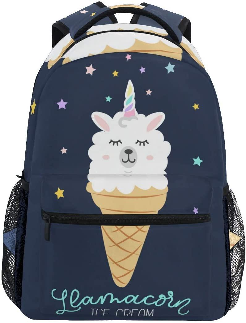 School Backpacks Cute Cartoon Llama Ice Cream Student Backpack Big For Girls Kids Elementary School Shoulder Bag Bookbag