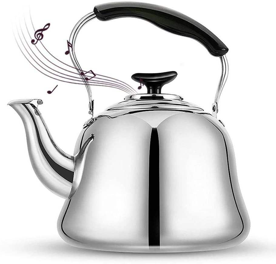 hdee Stove Top Whistling Tea Kettle, Stainless Steel Tea Pot - Whistle Type, with Ergonomic Handle, 4L/5L Classic Large Brushed Teapot, for All Heat Sources, for Coffee, Milk, Tea