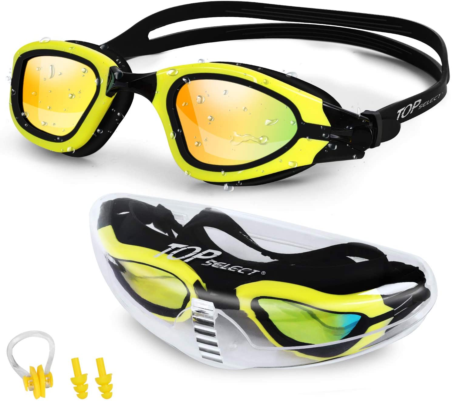 TopSelect Swimming Goggles Waterproof Clear Vision Polarized Anti Fog UV Protection No Leak Soft Silicone Frame and Strap for Men, Women, Boys, Girls,Youth.