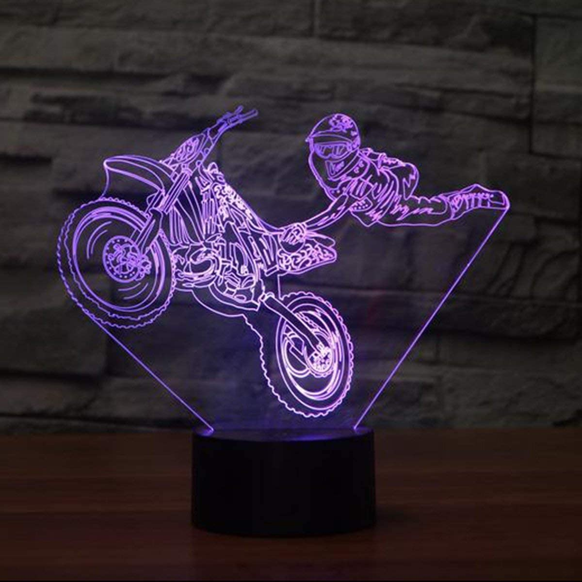 3D Motorcycle Stunts Night Light Illusion Lamp 7 Colors Change LED Touch Switch USB Power Kids Toys Decor Decorations Table Lamp Children Christmas Valentines Birthday Gift