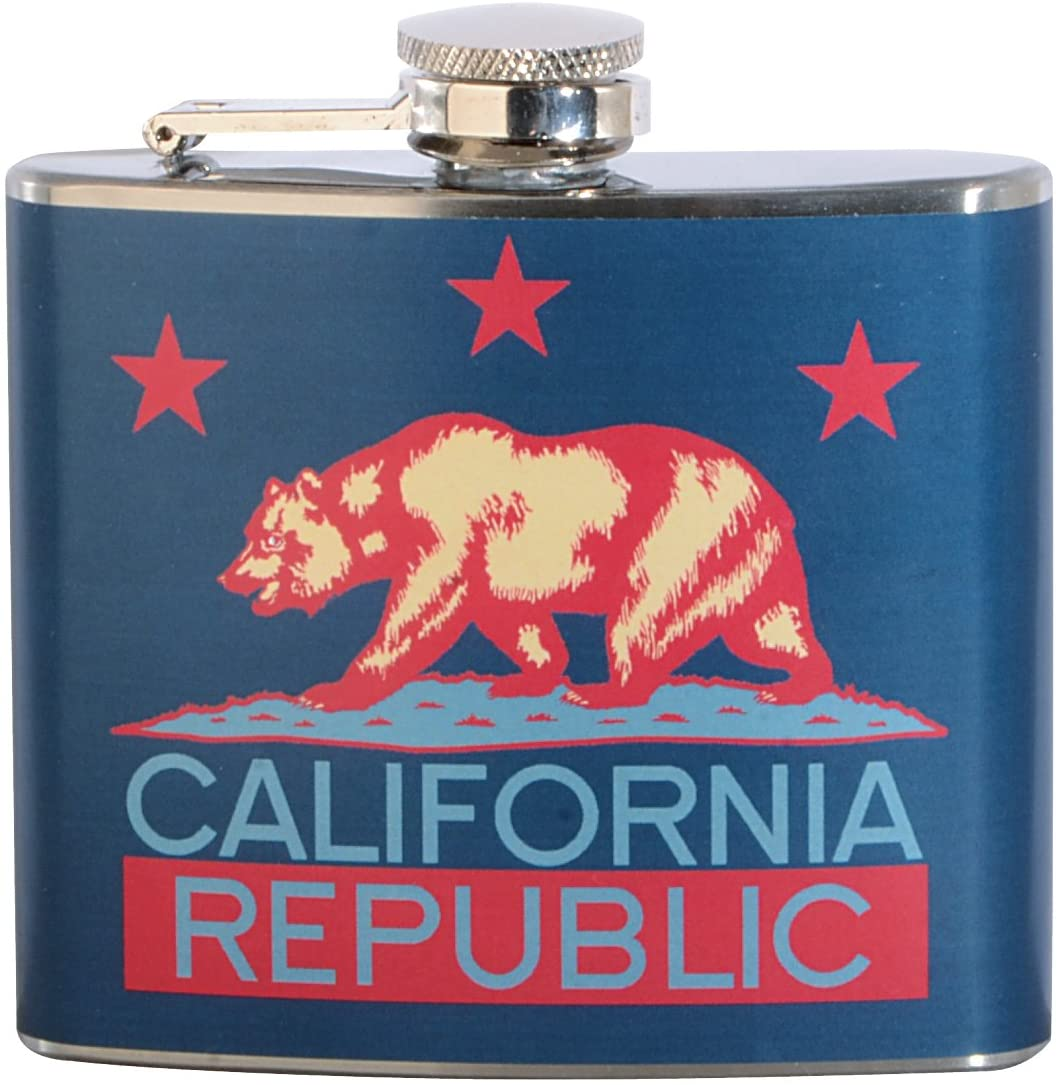 Blue California Republic 5 oz. Stainless Steel Flask