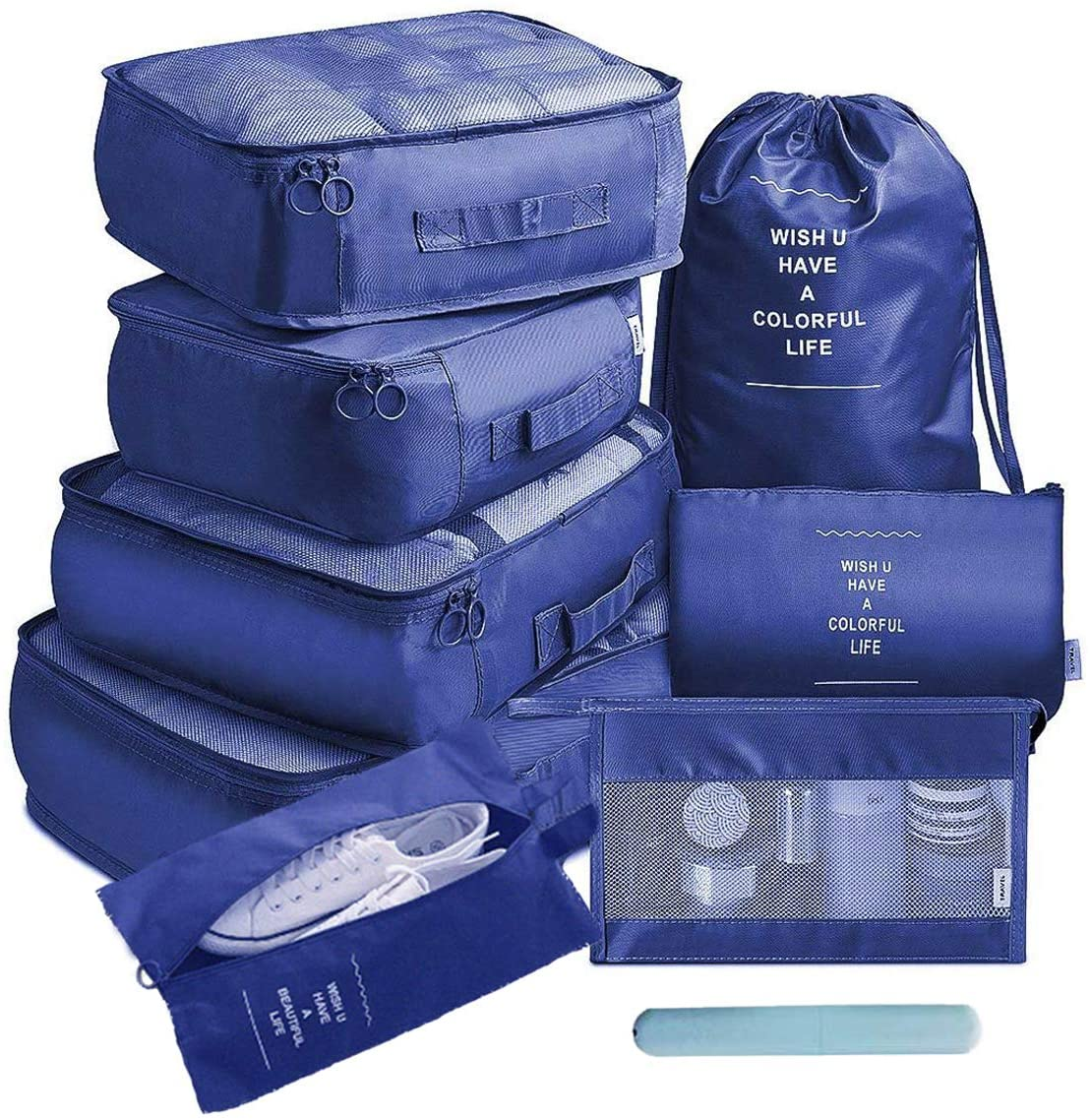 OrgaWise Packing Cubes for Travel Organizer 9 Pcs Luggage Suitcase Waterproof Organizers - 4 Travel Cubes + 1 Pouches + 1 Shoe Bag+1 Cosmetic bag+1 Drawsting Bag+1 Toothbrush Box (9 Pcs Navy Blue)