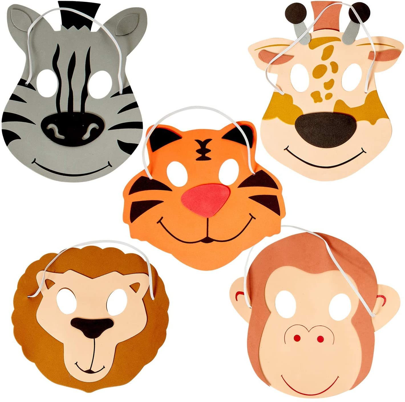 Kicko 12 Foam Animal Masks 7.5 Inch 4 Different Sorts of Animals - Good for Kids Costume Parties