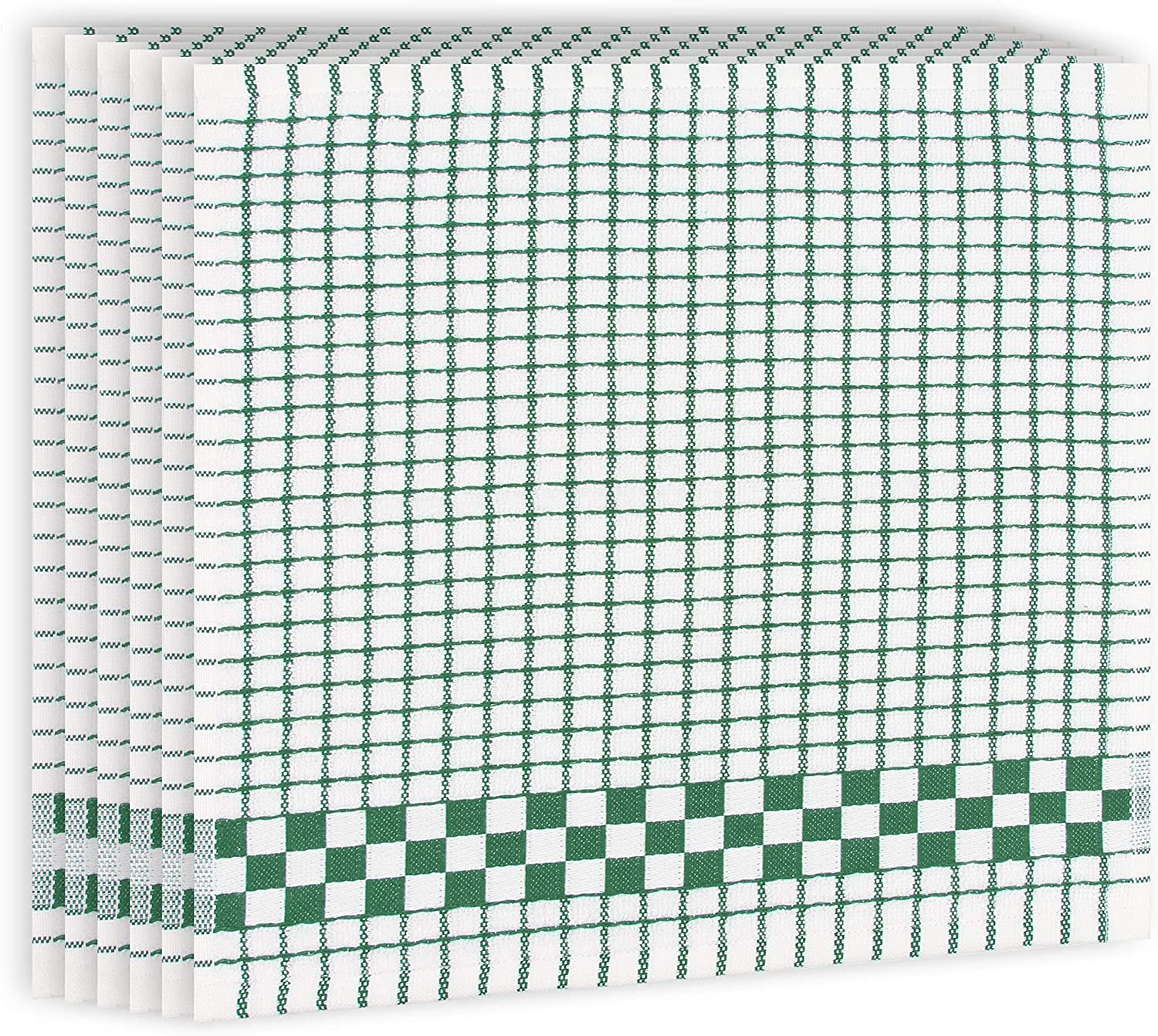 Fecido Classic Kitchen Dish Cloths with Hanging Loop (12 x 12 Inches) - Set of 6, Dark Green