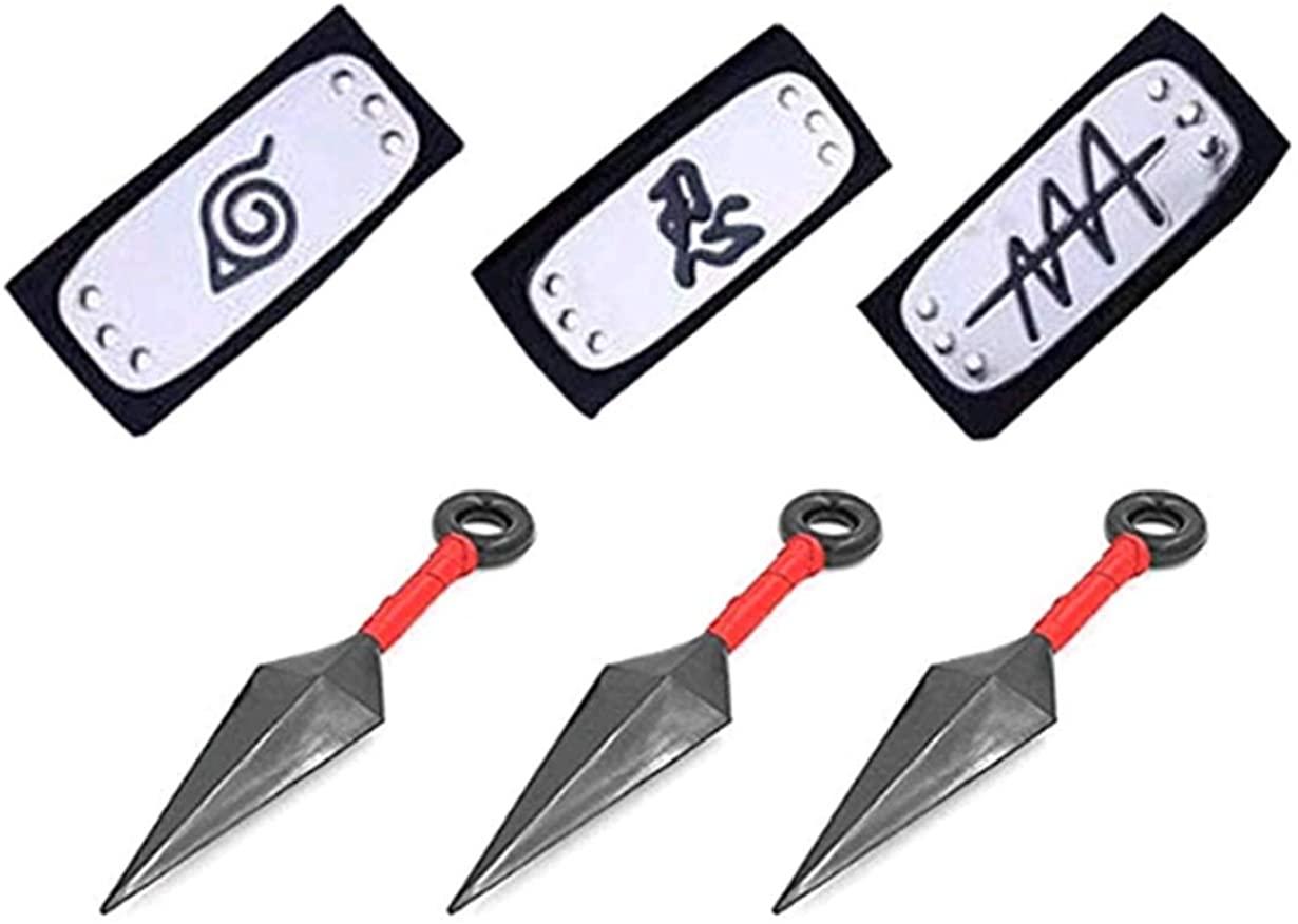 3 Pcs Big Kunai Plastic Toy Leaf and 3 PCS Naruto Costume Metal Plated Cosplay Leaf Village Ninja Kakashi [Black]