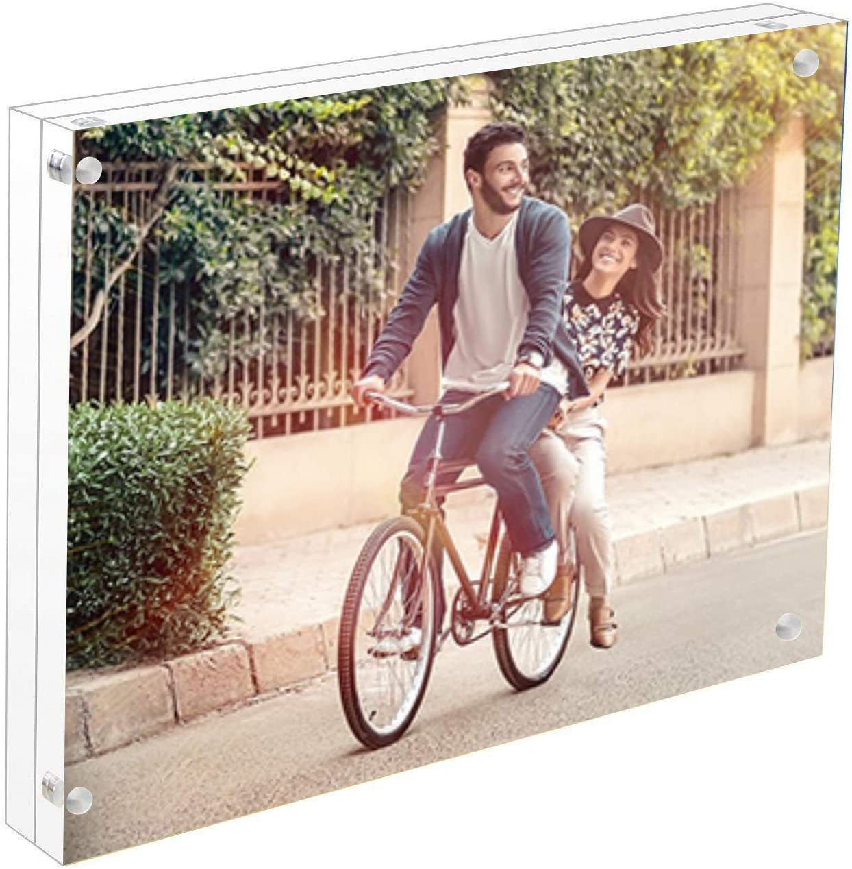 Cq acrylic 8x10 Inch Acrylic Magnetic Picture Frame,Clear 10 + 10MM Thickness Stand in Desk/Table,Pack of 1