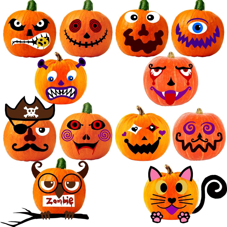 VEYLIN 24Pcs Foam Pumpkin Decorations Craft Stickers, Funny Pumpkin Decoration for Halloween Party