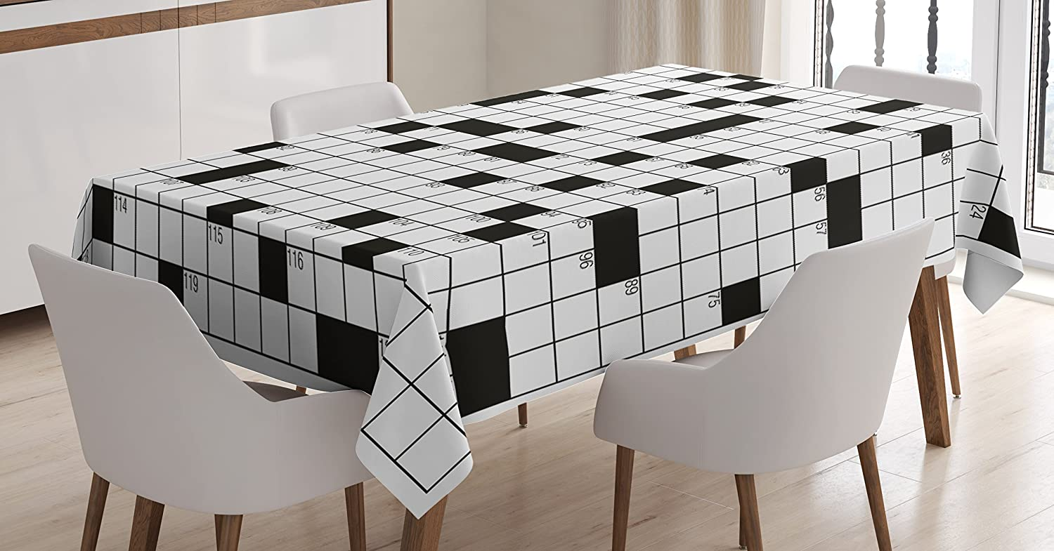 Ambesonne Word Search Puzzle Tablecloth, Classical Crossword Puzzle with Black and White Boxes and Numbers, Dining Room Kitchen Rectangular Table Cover, 60