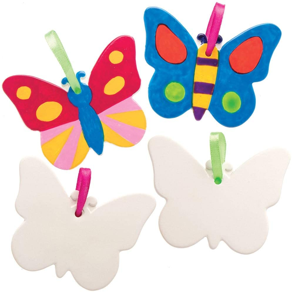 Baker Ross AT875 Paint Your Own Butterfly Ceramic Ornament, for Kids Arts and Crafts Projects (Pack of 5), Assorted