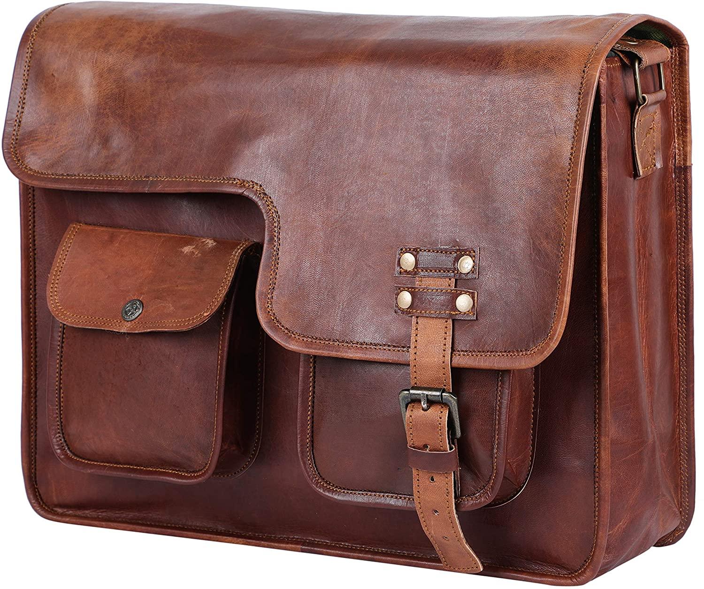 GNG - Leather Briefcase Laptop Bag 16 inch Handmade Messenger Bags Best Satchel - Half flap - 2 front pocket