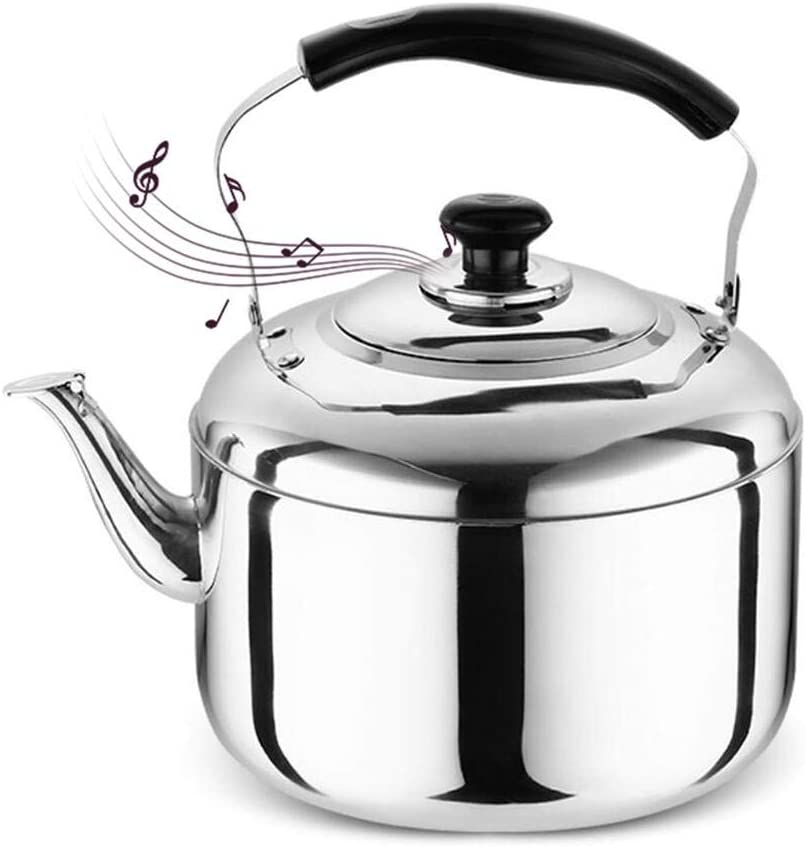 PITCHBLA Whistling Tea Kettle for Stove Top, 4L Stainless Steel Teapot with Rubber Cool Handle, Tea Kettles Water Bottle for All Stovetops