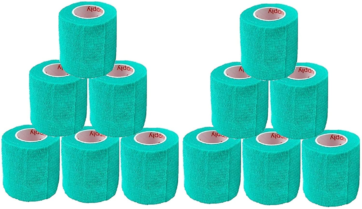 2 Inch Self Adhesive Medical Bandage Wrap Sport Tape (Light Green) (12 Rolls) Self Adherent Cohesive First Aid Sport Flex Wrist Ankle Knee Sprains and Swelling