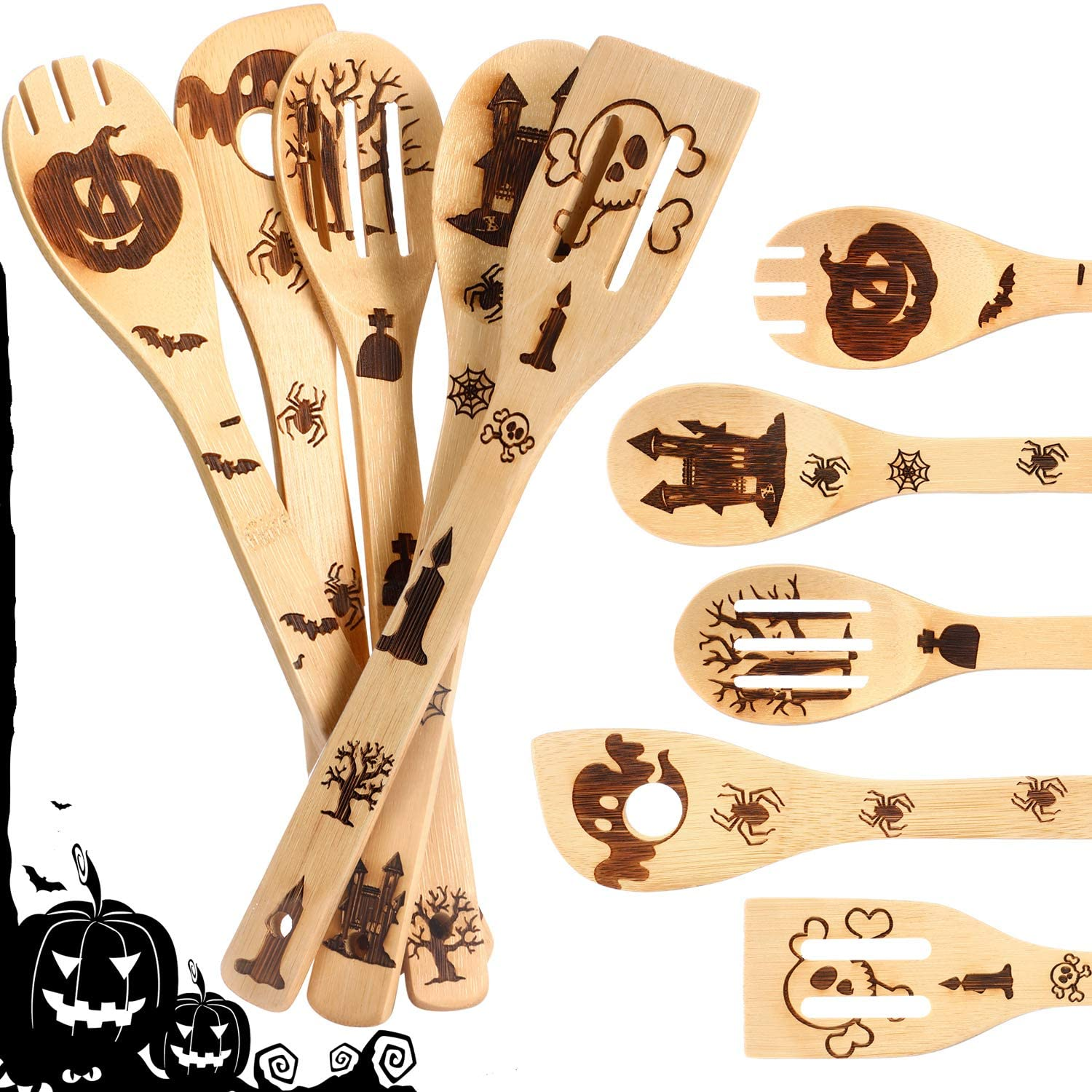 5 Pieces Halloween Burned Wooden Spoons Set Bamboo Cooking Spoons Utensils Wood Slotted Spoon Spatula for Halloween House Warming Wedding Home Kitchen Tableware