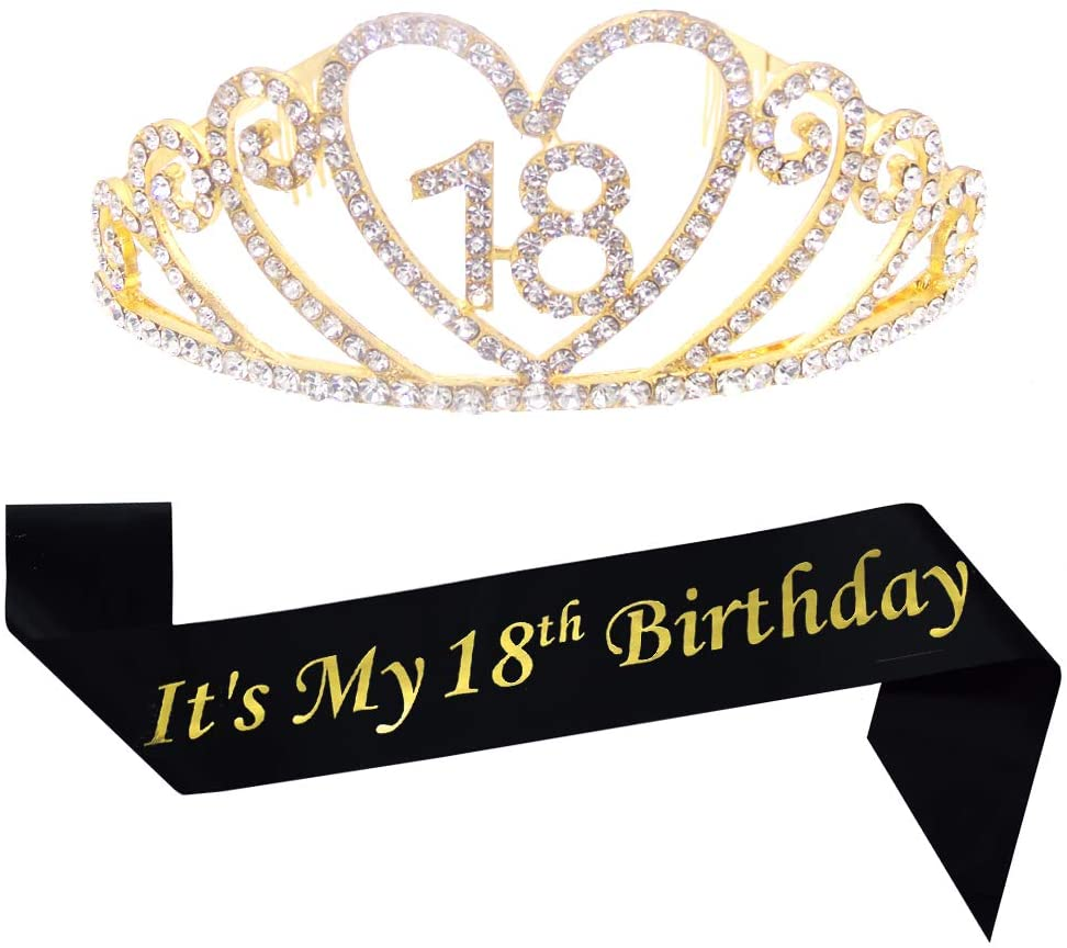 18th Birthday Gold Tiara and Sash Glitter Satin Sash and Crystal Rhinestone Tiara Crown for Happy 18th Birthday Party Supplies Favors Decorations 18th Birthday Party Accessories
