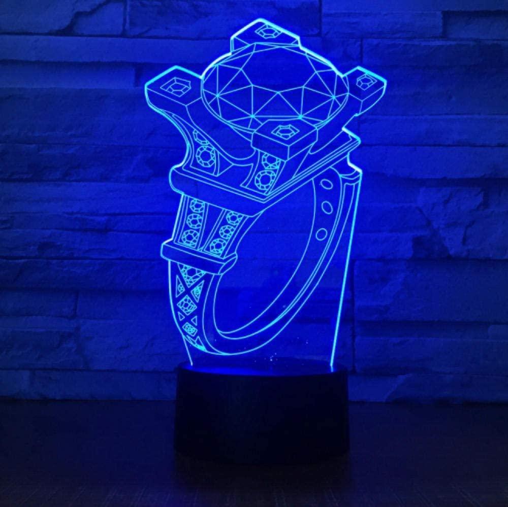 vbgdf Night Light Diamond Ring 3D Lamp 7 Colors Kids Gift Touch Night Light for Children Holiday 3D Illusion Desk Table Lamp for Girl Best Gift Home Decor.