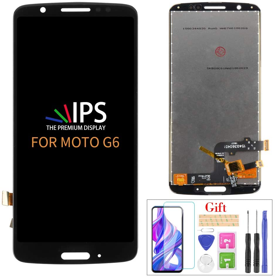 for Motorola Moto G6 5.7-inch XT1925 Screen Replacement LCD Display Touch Screen Digitizer Assembly Part with Tools, Screen Protector (Black)