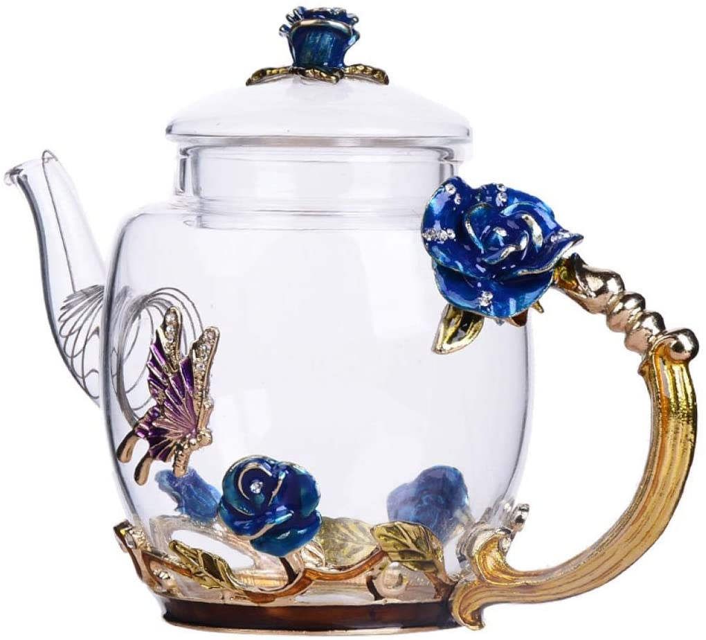 Safe Durable Floral Glass Teapot with Gold Leaves Edge Colourful Flower Pattern Floral Vintage Teapot Tea Party Set (Blue)