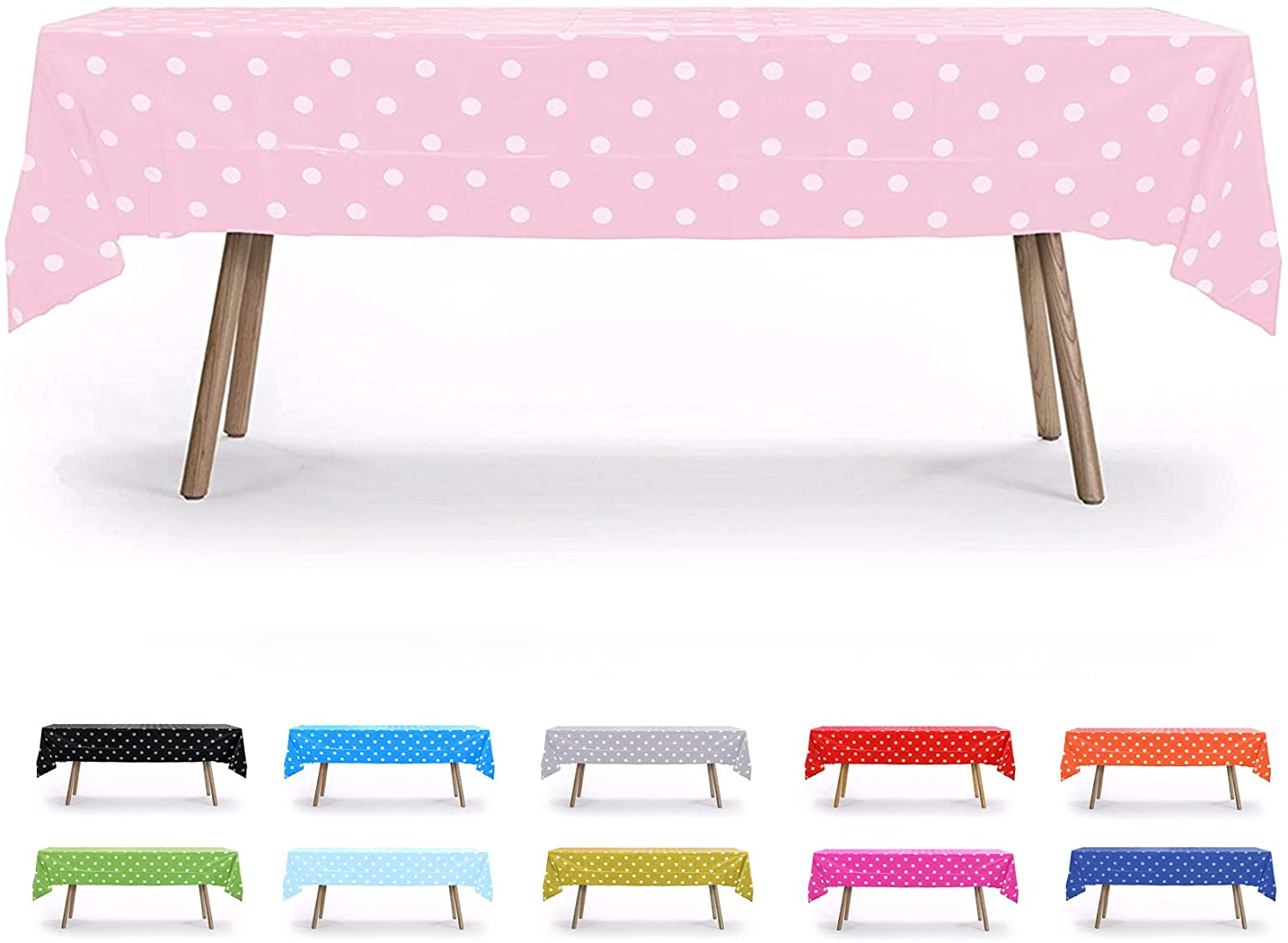 Gift Expressions Table Cloth, 12 Pack, Pink Polka Dot, 54