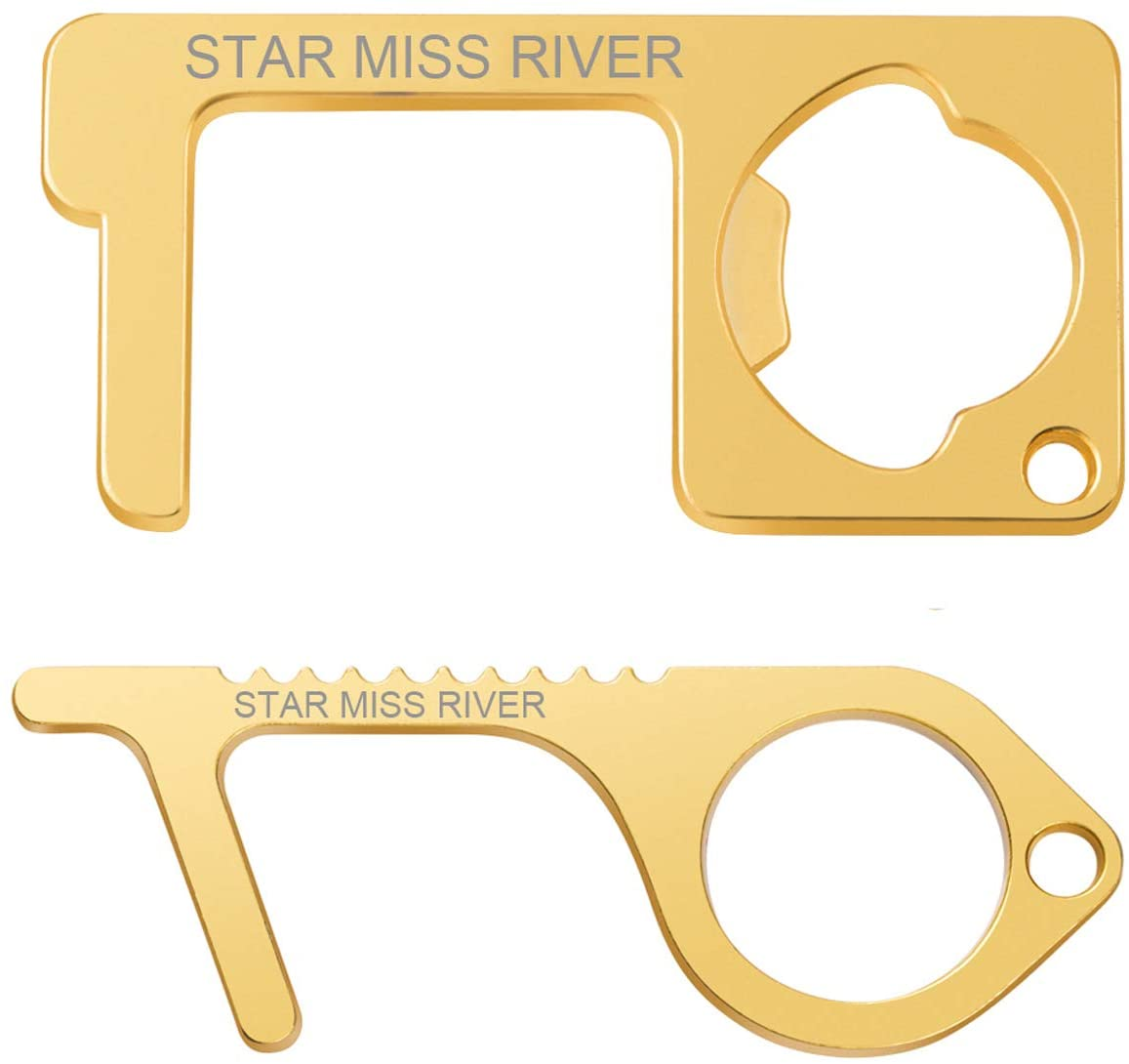 Star Miss River No Touch Door Opener Hand Keychain Tool with Beer Bottle Opener - 2 Pack for Couple