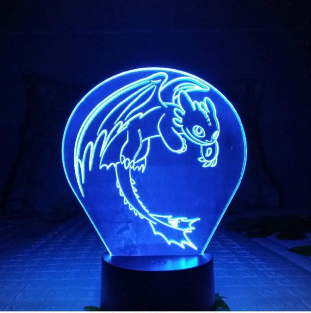 Dragon Night Light LED 3D Illusion USB Touch Sensor Child Kids Gift Night Table Lamp Desk Decoration
