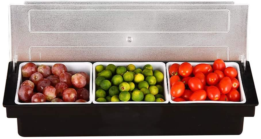 FEOOWV 3-Compartment Condiment Caddy with Lid, Fruit Garnish Tray, Dips Toppings Serving Container, for Home Restaurant Buffets Bars Supplies
