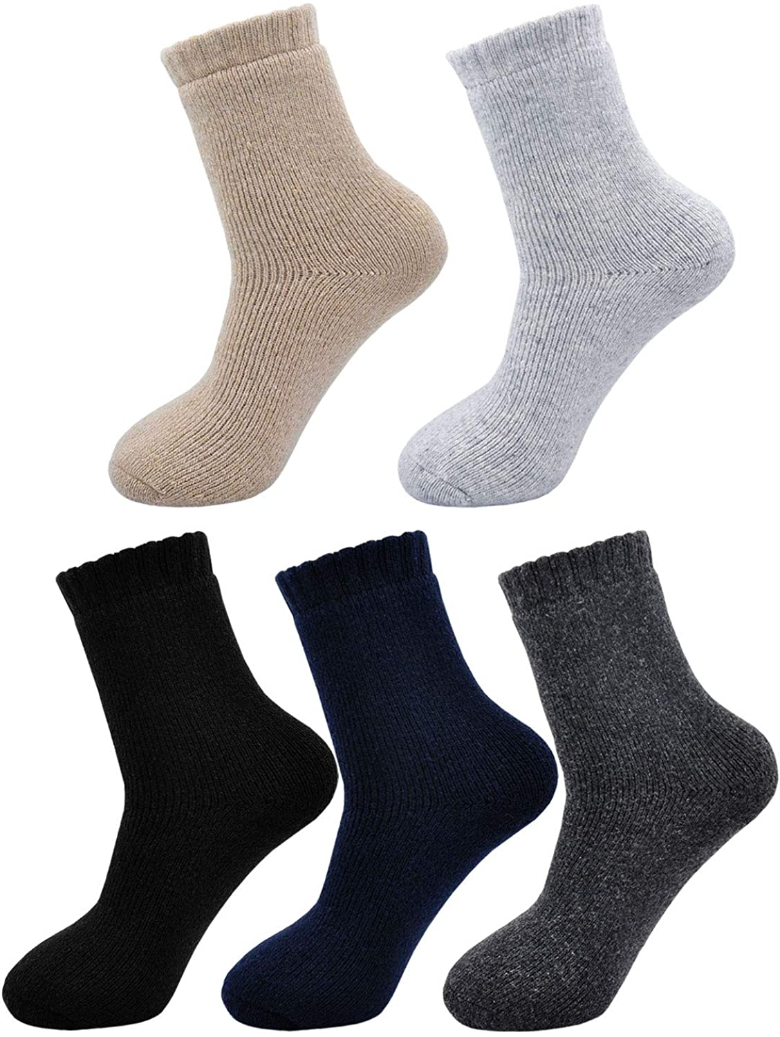 Men's Thick Sock Warm Super Soft Wool Winter Ankle Pure Color Socks Comfort Casual Fleece Blended for Man 5 Pairs