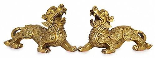 Large Size Feng Shui Set of Two Golden Brass Pi Yao/Pi Xiu Wealth Porsperity Figurine,Best Housewarming Congratulatory Gift Attract Wealth and Good Luck,Feng Shui Decor,(6.5