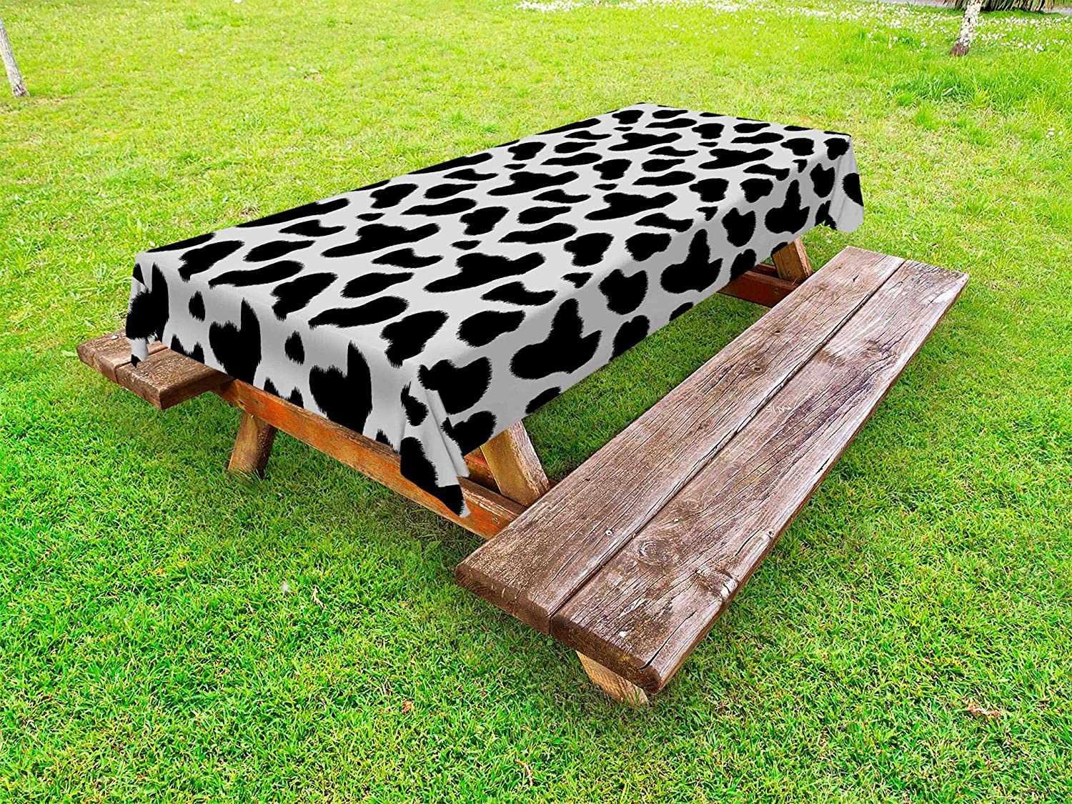 Ambesonne Cow Print Outdoor Tablecloth, Cow Hide Pattern with Spots Farm Life with Cattle Camouflage Animal Skin, Decorative Washable Picnic Table Cloth, 58