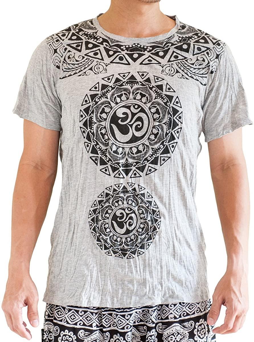 BohoHill Men's T-Shirt Original Tribal Mandalas Om Shanti Yoga Gray