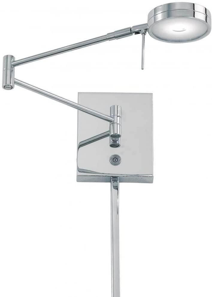 George Kovacs P4308-077, Georges Reading Room, 1 Light LED Swing Arm Lamp, Chrome