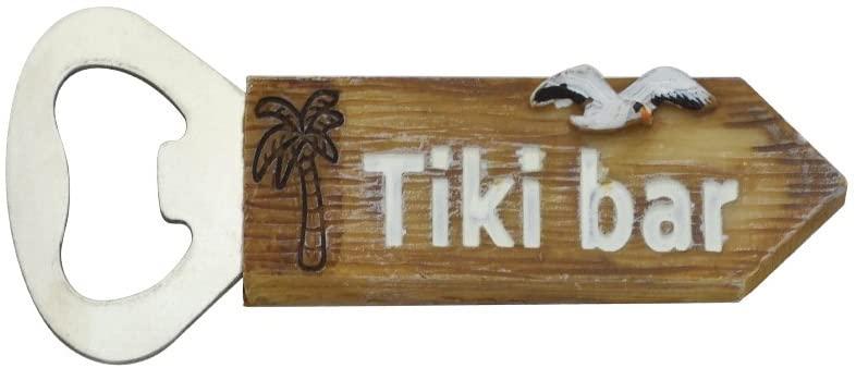 Beach Wood Bottle Opener Tiki Bar Style Palm Tree Wooden Bartender Bottle Opener and Fridge Magnets Stainless Steel (Tiki Bar)
