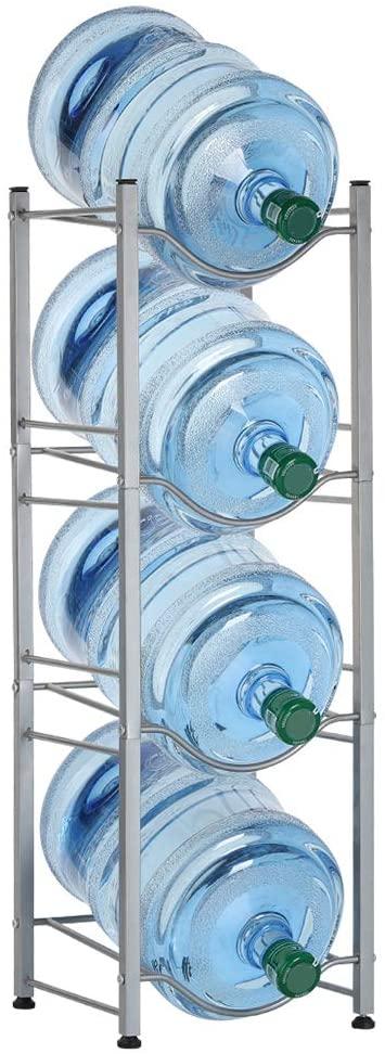 LIANTRAL Water Cooler Jug Rack, 4-Tier Water Bottle Storage Rack Detachable Heavy Duty Water Bottle Cabby Rack