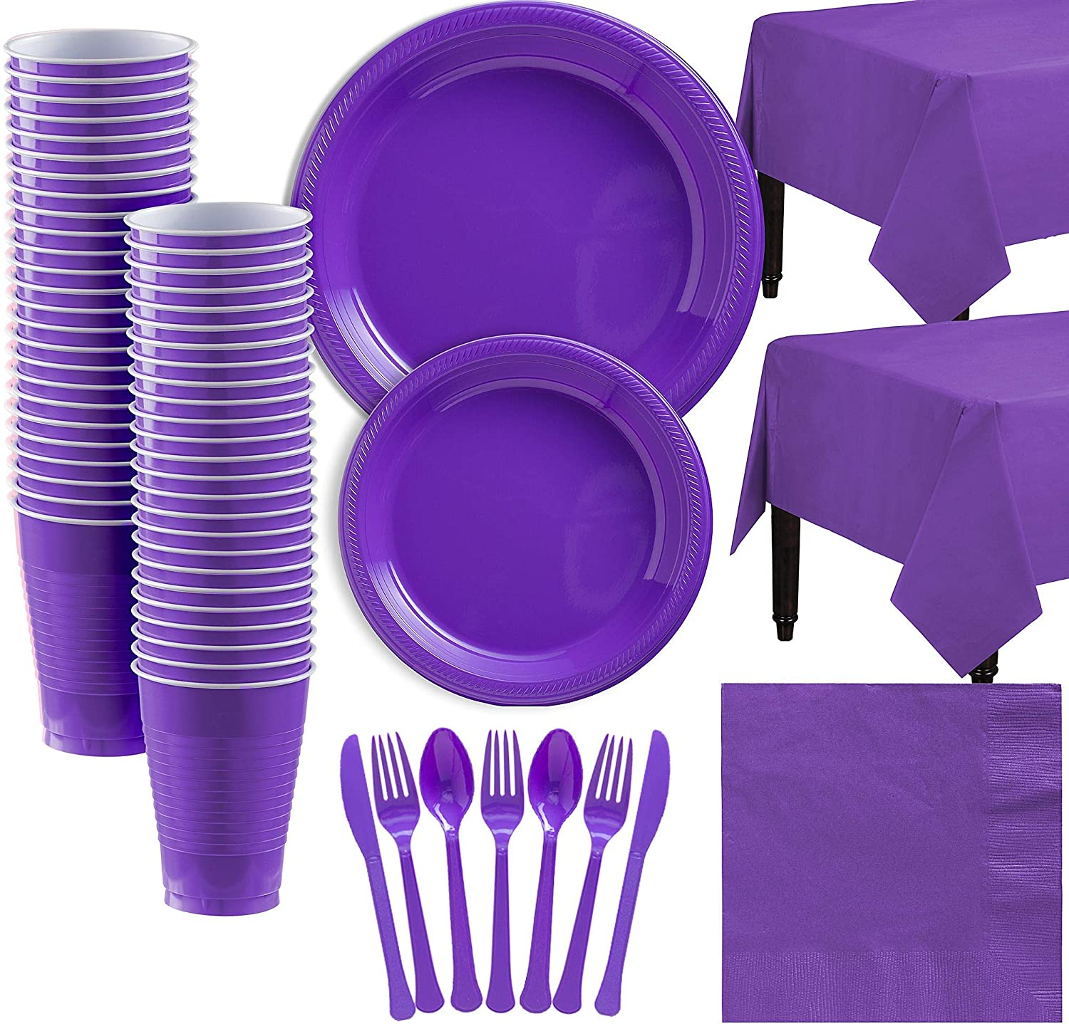 Amscan Purple Plastic Tableware Kit for 50 Guests, Party Supplies, Includes Table Covers, Plates, Cups and More