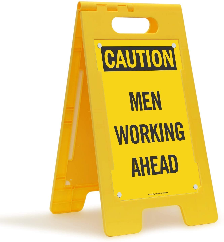 SmartSign Caution - Men Working Ahead Folding Floor Sign | 25 x 12 Plastic