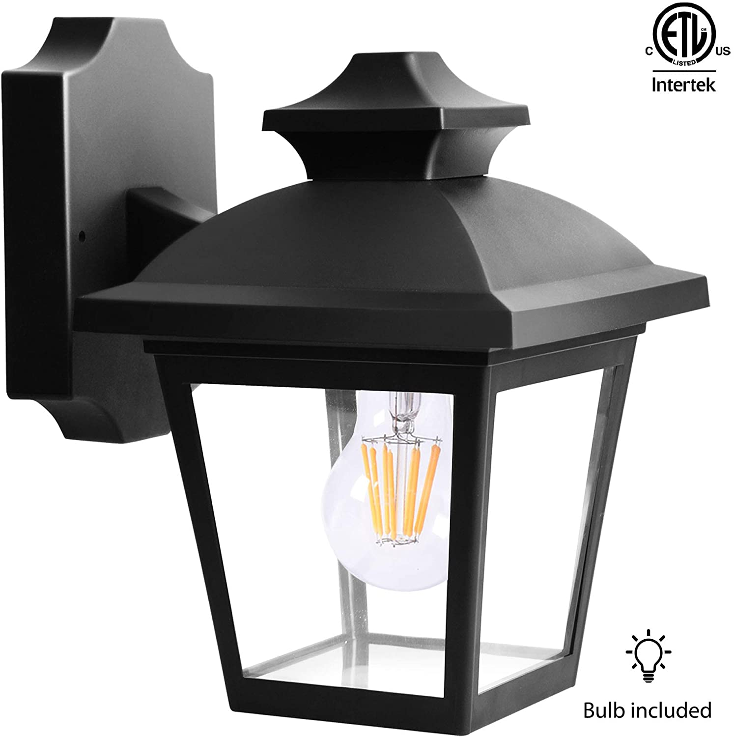 FUDESY 9 1/2 High Transitional Outdoor Wall Lanterns, 3000K Dimmable LED Edison FilamentBulb Included, Anti-Corrosion Plastic Materials, Black, P746-E26
