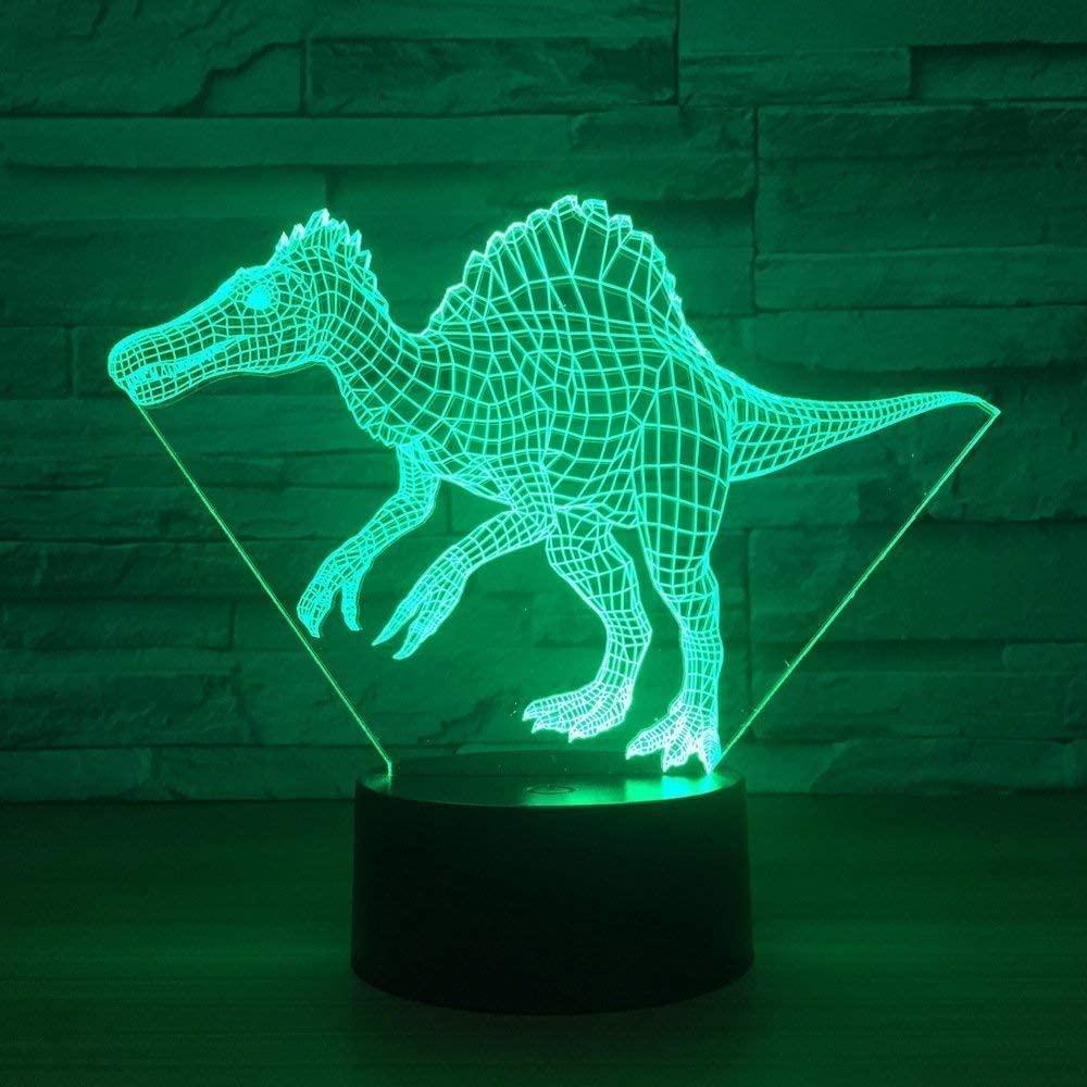 3D Led Dinosaur Table Lamp USB Animal 3D Led Night Lights 7 Color USB 3D Led Illusion Lights for Living Room Decorative Atmosphere Lamp
