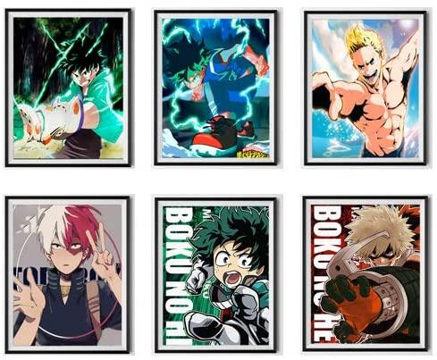Set of 6 My Hero of Academia Mirio Izuku Shouto Burst Katsuki Colorful Manga Anime Canvas Wall Art Print for Decor,8 x 10 Inches,No Frame