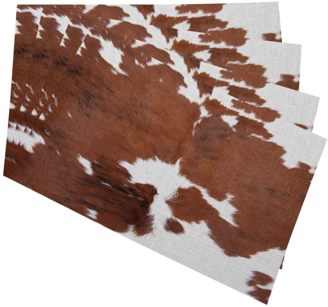 Mugod Cowhide Placemats Leopard Farm Animal Tri Color Brown Cow Decorative Heat Resistant Non-Slip Washable Place Mats for Kitchen Table Mats Set of 4 12