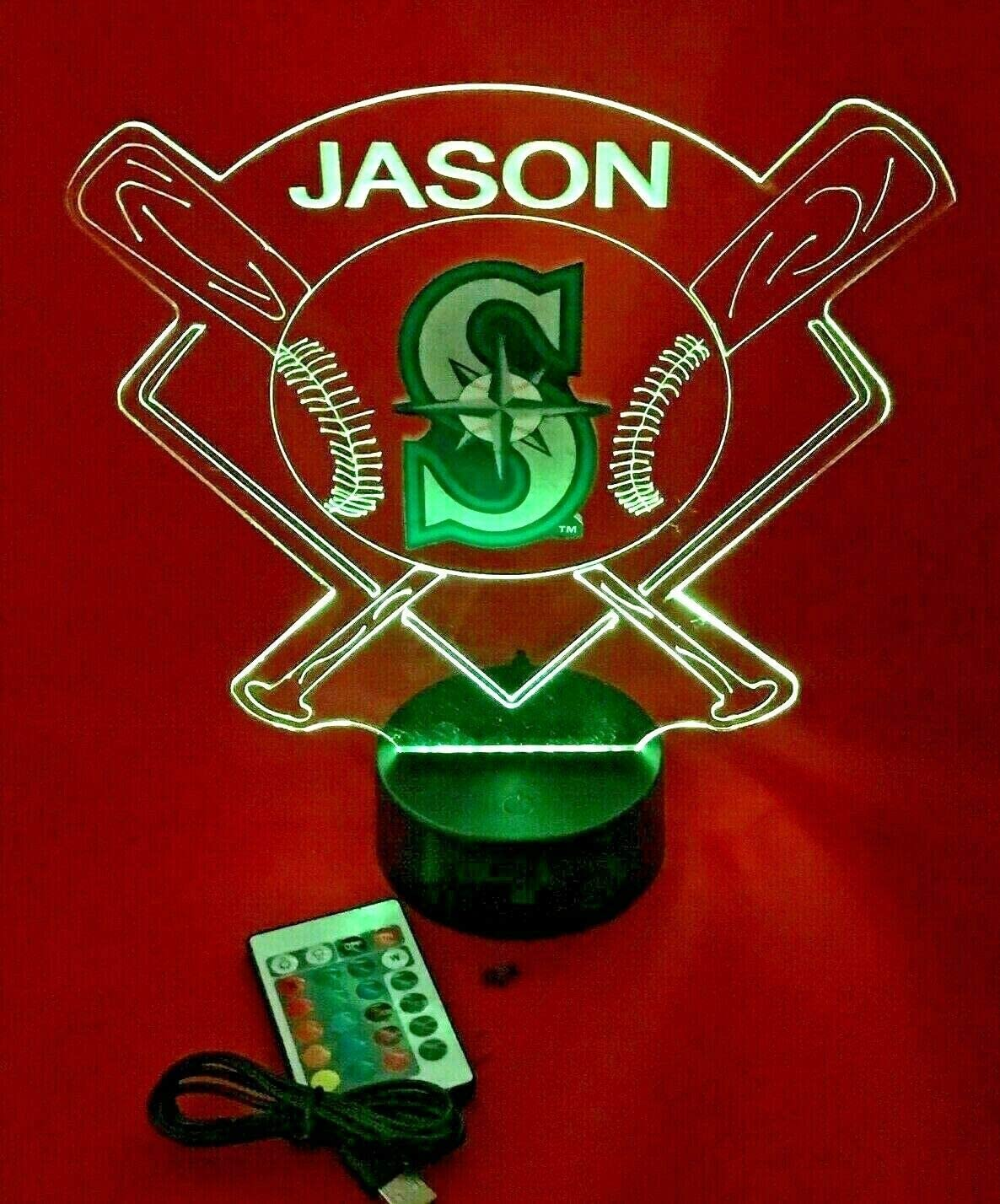 Baseball Night Light Up Lamp LED Lamp Personalized Handmade Stadium with Bats Free Personalization and Remote, Men Man Boys Girls Sports Gift, 16 Color Options, and Variations! (SEA Mariners)
