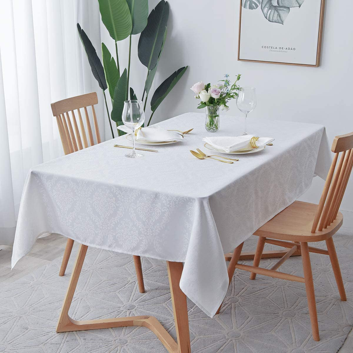 maxmill Square Tablecloth Damask Design Spillproof Wrinkle Free Oil Resistant Heavy Weight Soft Table Cloth Decorative Fabric Table Cover for Outdoor and Indoor Use Square 52 x 52 Inch White