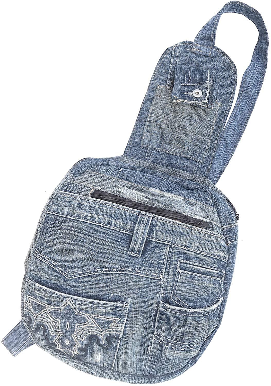 Unisex Upcycling Blue Denim One Strap Sling Chest Shoulder Backpack Daypack Cossbody Handbag Purse