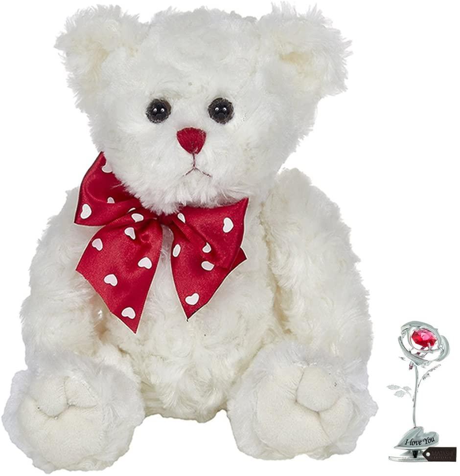 "Matashi Bearington Lil' Lovable Plush Stuffed Animal Teddy Bear | Single Chrome Plated Silver Rose Flower Tabletop Ornament w/Red Crystals Metal ""I Love You"" Floral Arrangement"